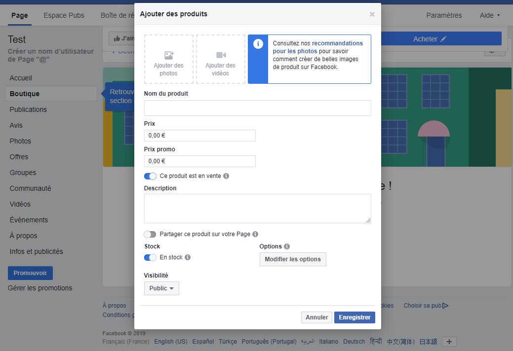 Capture d'écran d'un ajout de produits sur une page Facebook