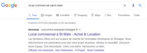 exemple d'annonce d'immo Entreprise Bretagne sur Google Ads