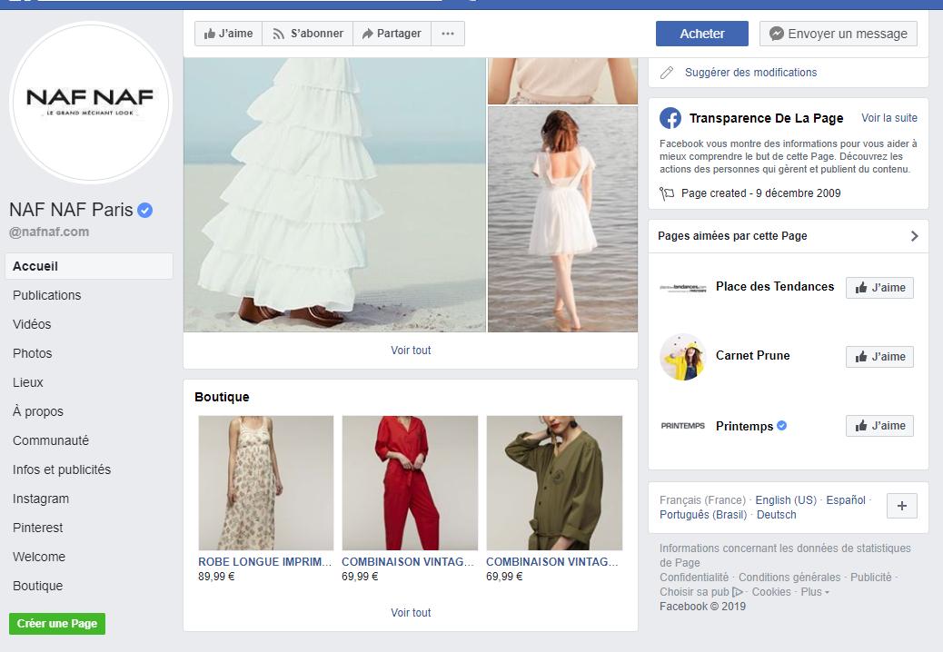 Capture d'écran d'une boutique Facebook