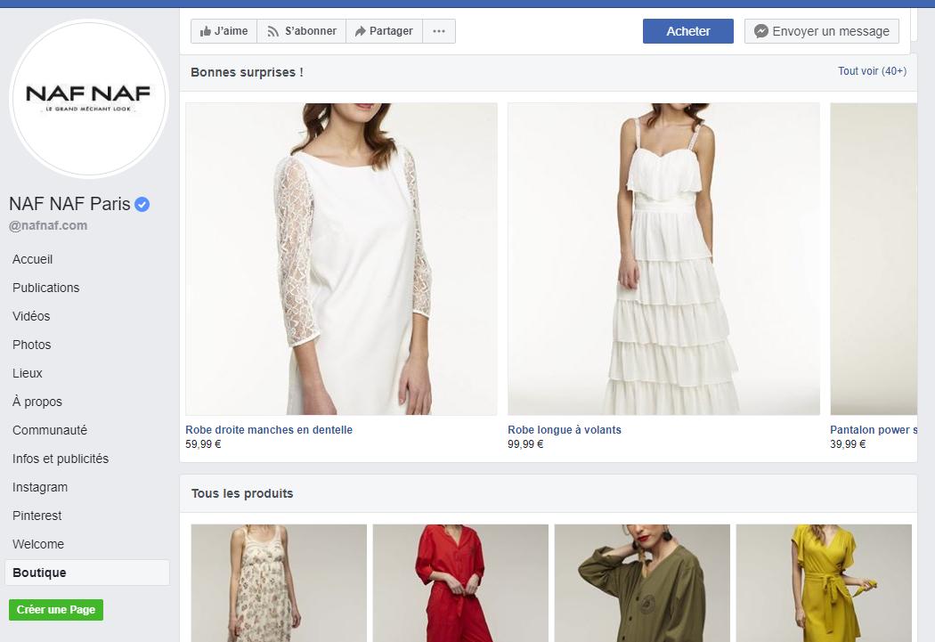 Capture d'écran d'une boutique Facebook avec différents produits