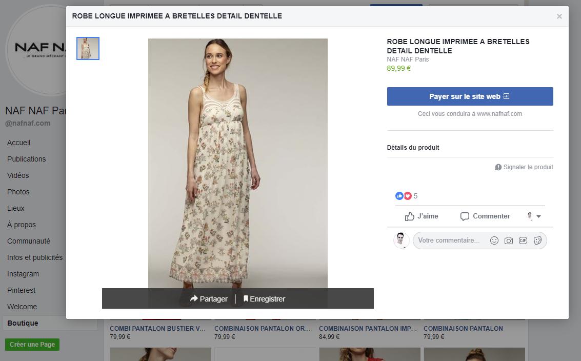 Capture d'écran d'une fiche produit sur une boutique d'une page Facebook