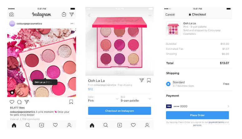 Capture d'écran d'un produit d'une boutique sur Instagram