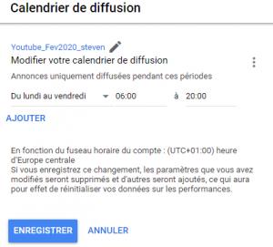 La configuration de votre calendrier sur Google Ads Adwords