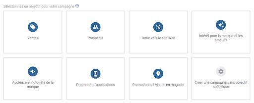 Tous les objectifs qui sont proposés sur Google Ads Adwords