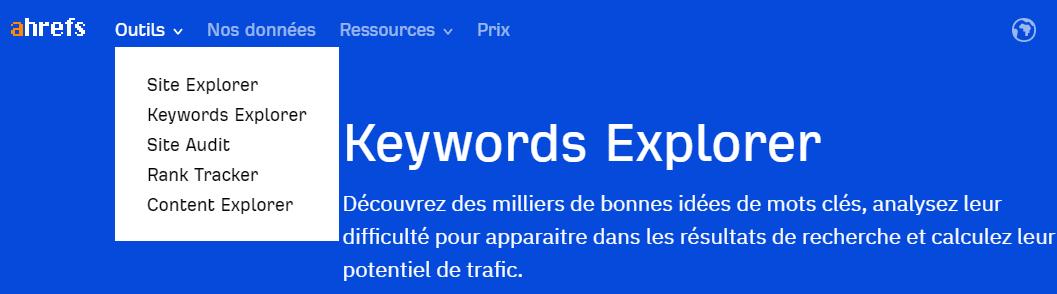 Capture d'écran du Keywords Explorer du site Ahrefs pour le référencement naturel.