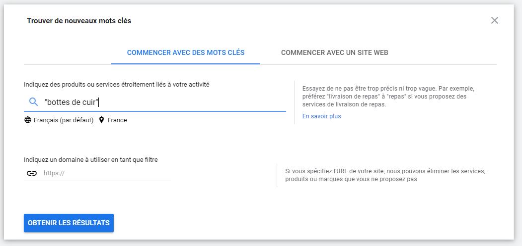 Capture d'écran du planificateur de mots clés de Google Ads