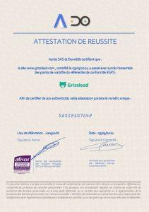 attestation de conformité rgpd Grizzlead